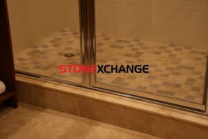 Travertine shower sill