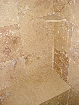 wholesale bathroom tile travertine corner soap shelf for showers 15173