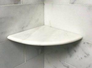 Nuevo White Carrara Corner Shelf
