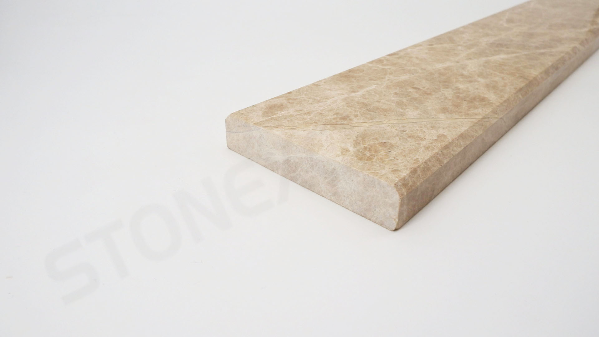 Light Emperador Brown Marble Double Standard Bevel Threshold 4x36 Close up