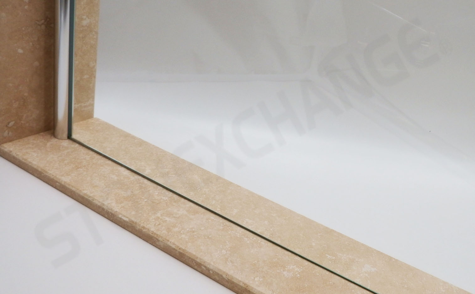 Travertine Filled Honed Shower Curb