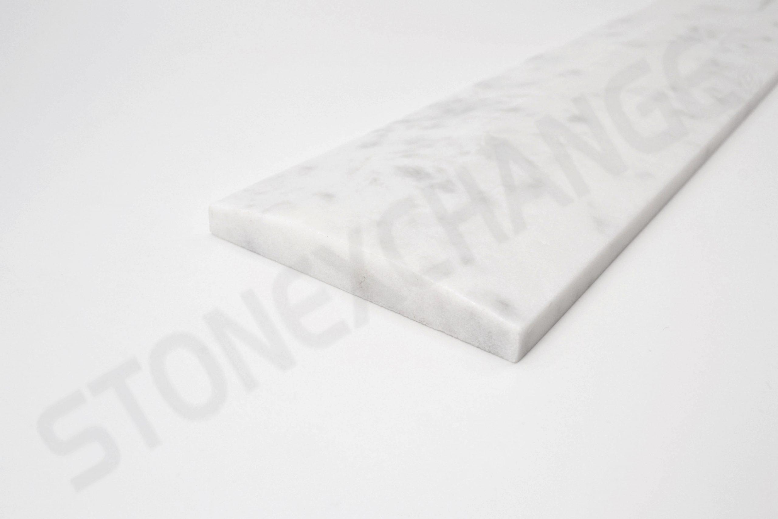 White Carrara Marble Double Hollywood Bevel Threshold 4x36
