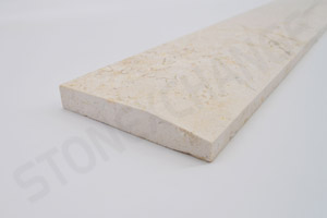 Crema Marfil Marble Single Hollywood Bevel Threshold 4x36 Close up